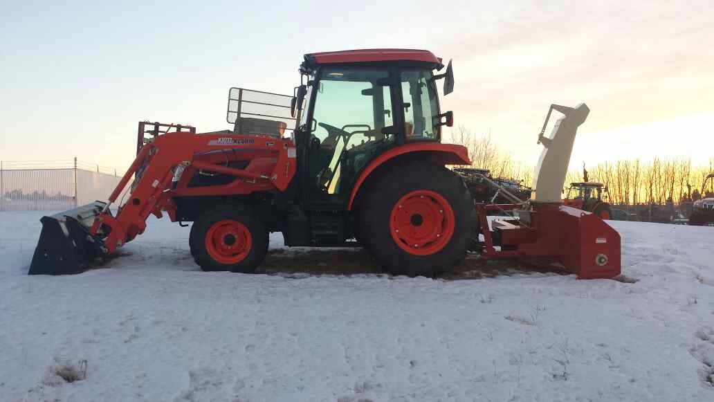 Tractor with front-loader and heated cab